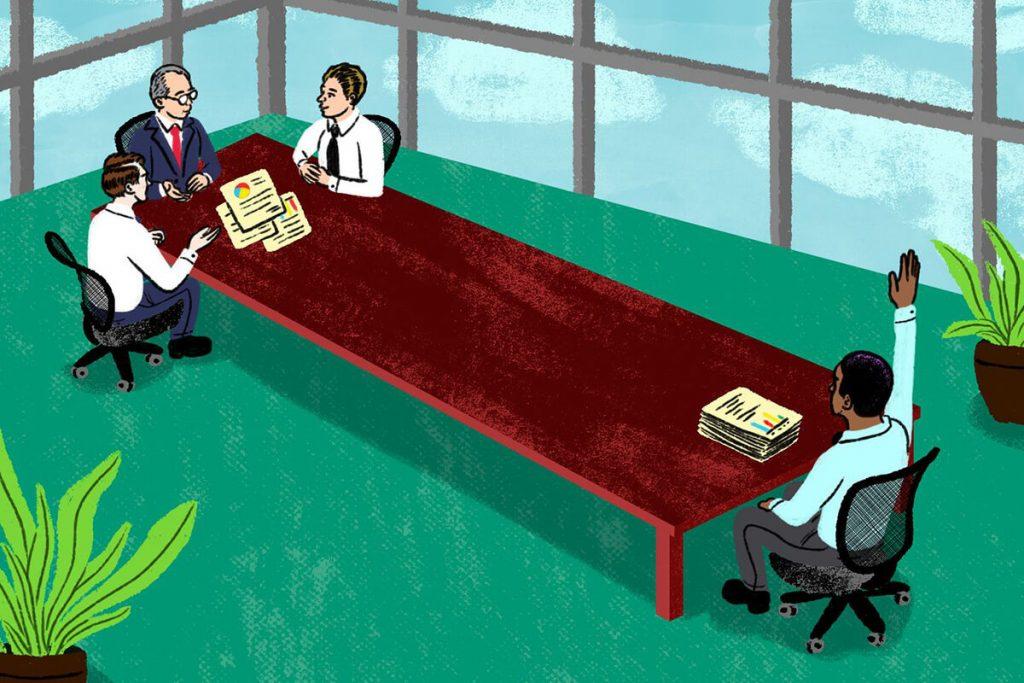 A drawing showing an employee meeting
