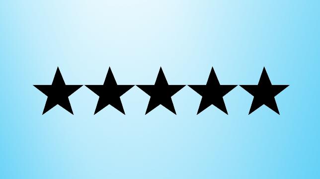 A five star on blue backround
